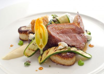 Romney marsh lamb, sweetbread, gnocchi, courgette, goats curd
