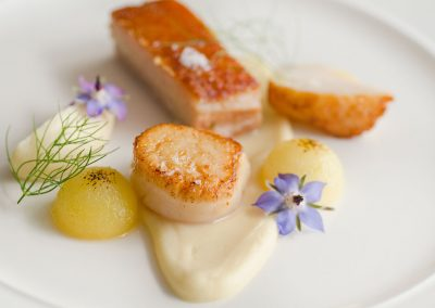 Scallop, suckiling pig, bramley apple, celeriac